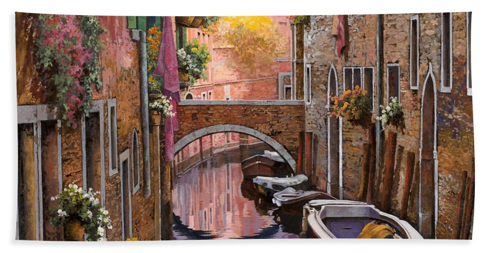 Venice Bath Towel featuring the painting Mimosa Sui Canali by Guido Borelli
