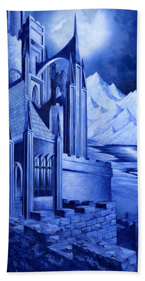Lord Of The Rings Bath Sheet featuring the mixed media Minas Tirith by Curtiss Shaffer