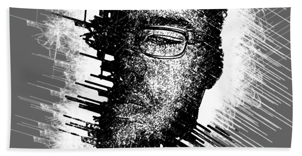 Black And White Hand Towel featuring the digital art Mind Cavity by Bayley Williams