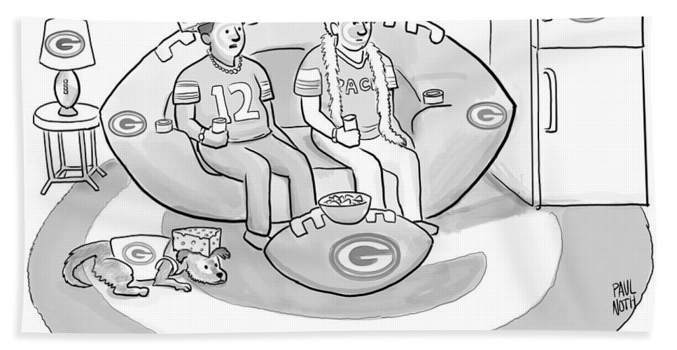 """mind If I Put The Game On?"" Game Bath Sheet featuring the drawing Mind If I Put The Game On by Paul Noth"
