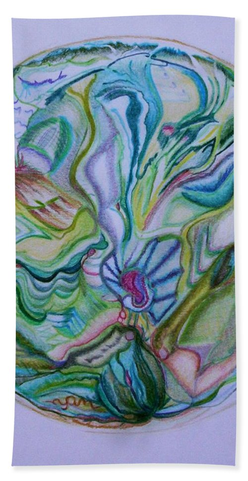 Abstract Bath Sheet featuring the drawing Mind Mandala by Suzanne Udell Levinger