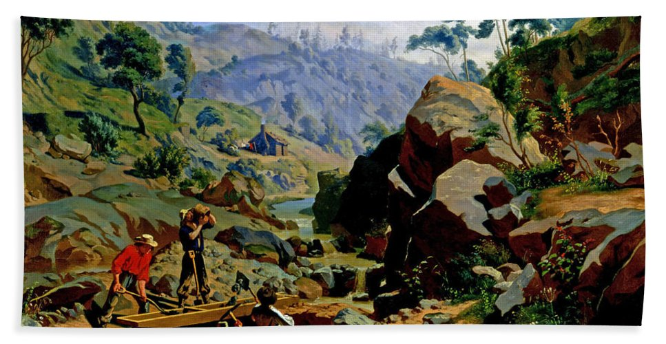 Charles Christian Nahl Hand Towel featuring the painting Miners In The Sierras by Charles Christian Nahl