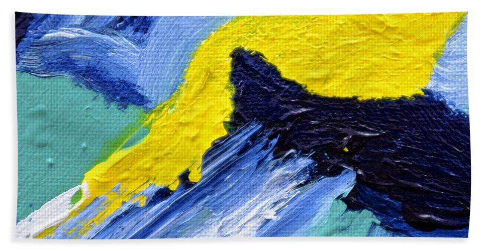 Abstract Hand Towel featuring the painting Mini #130 by Dick Bourgault