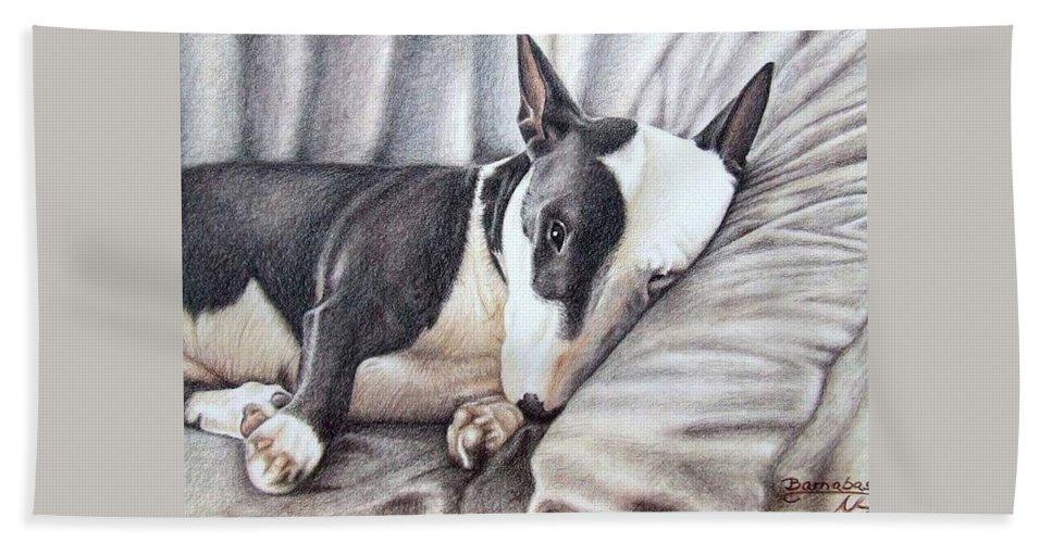 Dog Bath Towel featuring the drawing Mini Bulldog Terrier by Nicole Zeug
