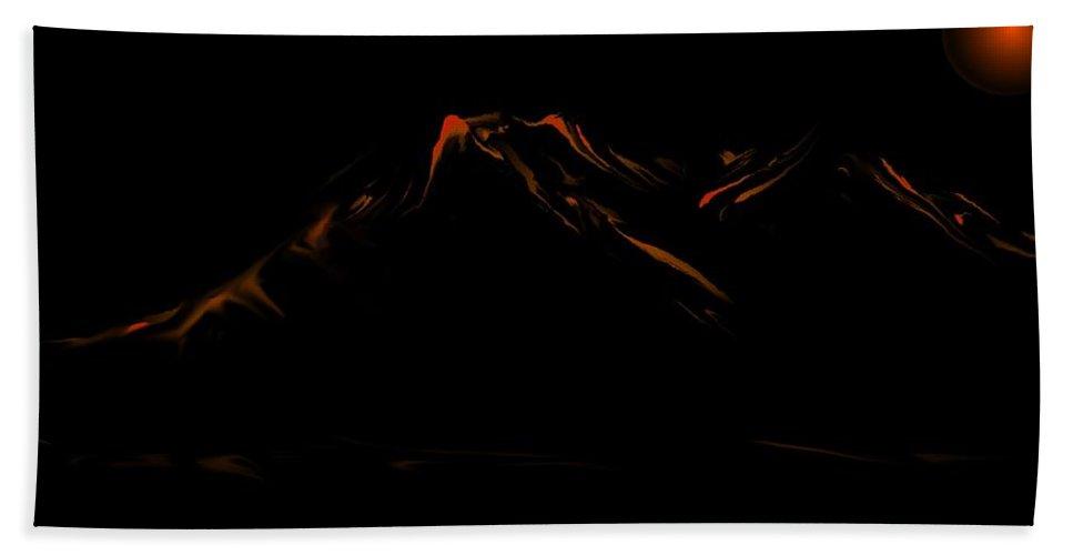 Digital Art Hand Towel featuring the digital art Minimal Landscape Orange by David Lane