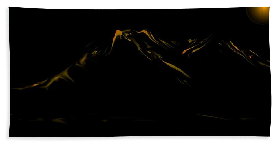 Digital Art Hand Towel featuring the digital art Minimal Landscape Yellow by David Lane
