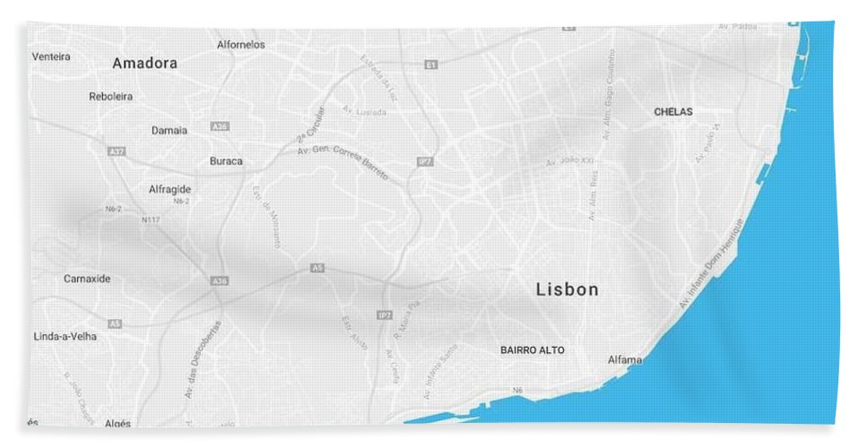 Vector Bath Sheet featuring the painting Minimalist Artistic Map Of Lisbon, Portugal 4a by Celestial Images