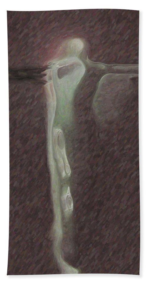 Minimalist Hand Towel featuring the digital art Minimalist Christ by Joaquin Abella