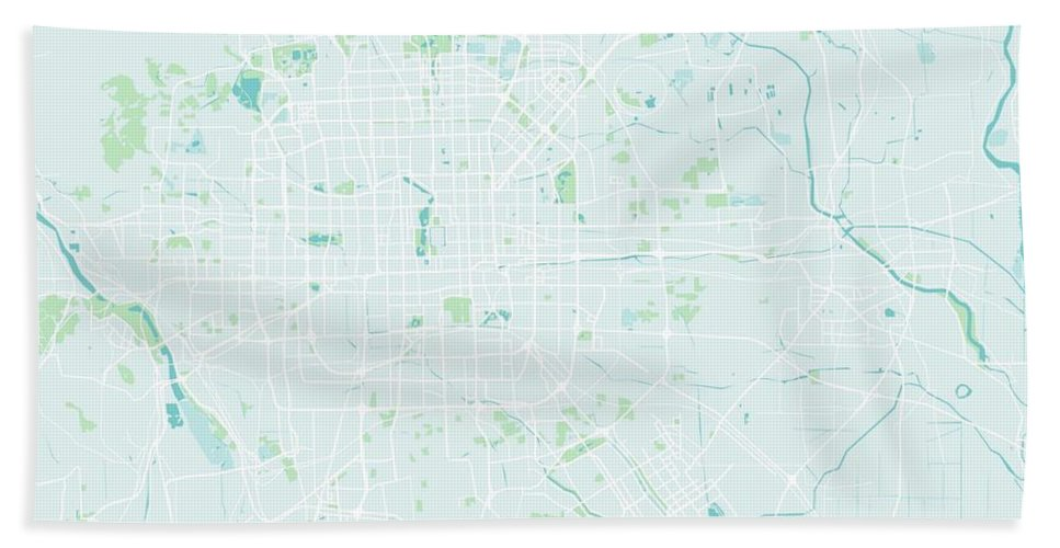 Vector Bath Sheet featuring the painting Minimalist Modern Map Of Beijing, China 3 by Celestial Images
