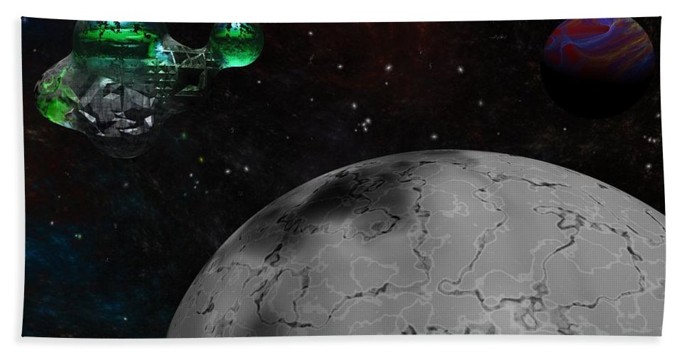 Science Fiction Hand Towel featuring the digital art Mining Operation Deep Space by David Lane