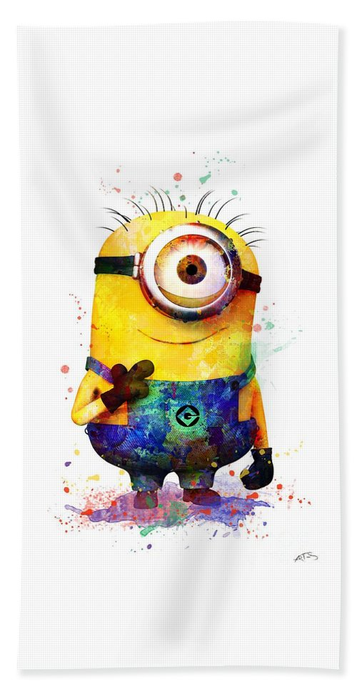 Watercolor Print Hand Towel featuring the digital art Minion 4 by Svetla Tancheva