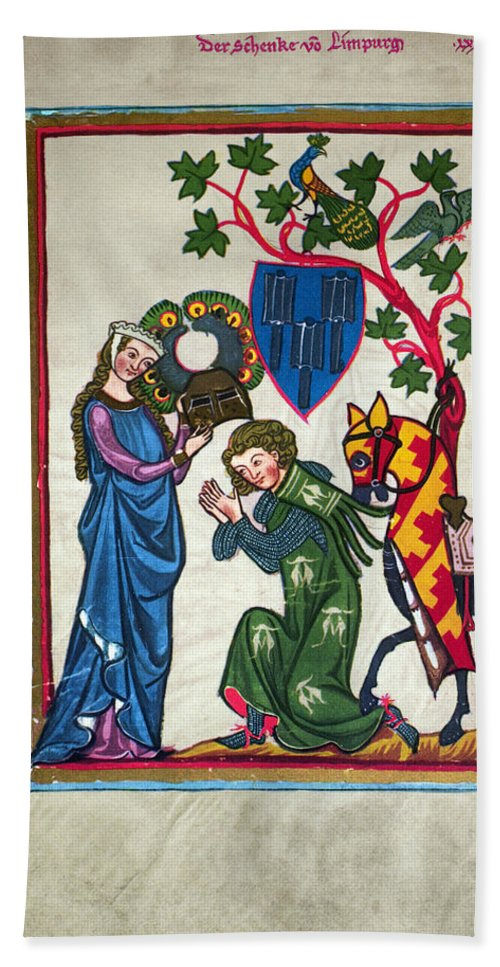 14th Century Bath Towel featuring the photograph Minnesinger, 14th Century by Granger