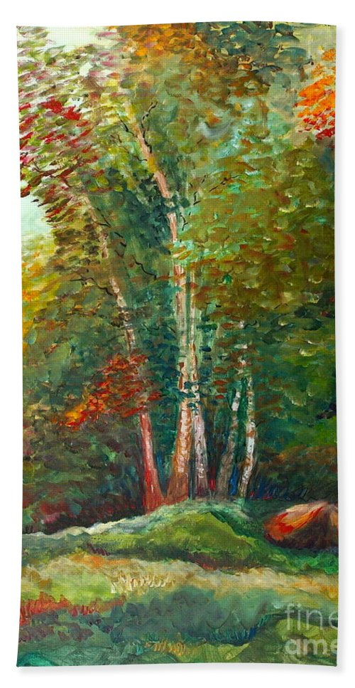 Landscape Bath Towel featuring the painting Minnesota Quartet by Nadine Rippelmeyer