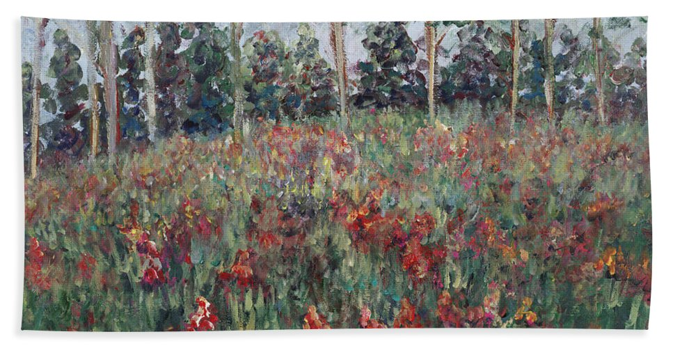 Landscape Bath Sheet featuring the painting Minnesota Wildflowers by Nadine Rippelmeyer