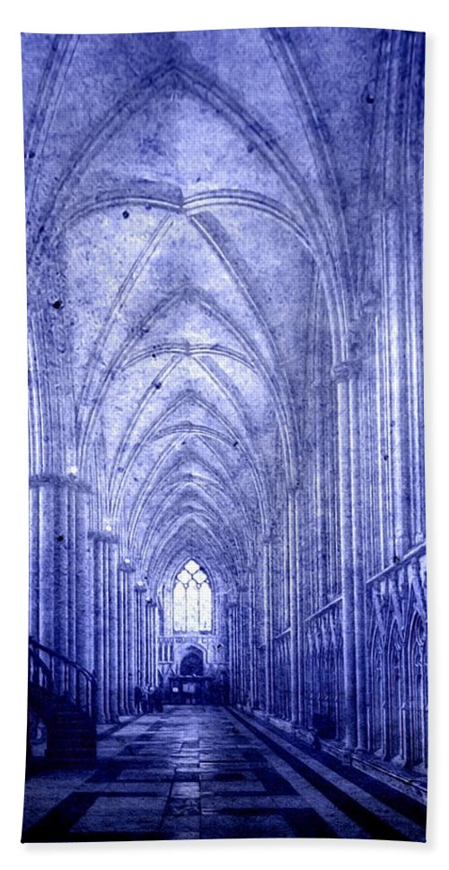 Abbey Hand Towel featuring the photograph Minster In Blue by Svetlana Sewell