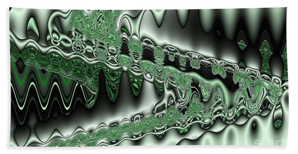Abstract Hand Towel featuring the digital art Mint Sine by Ron Bissett