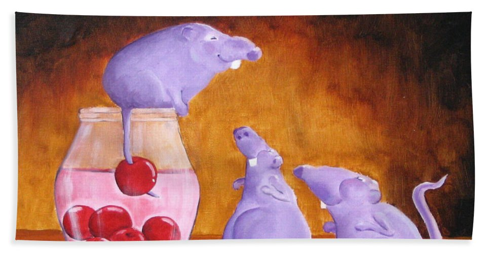 Mice Bath Towel featuring the painting Mioummmmmmmmmm Cherriesssssssssss by Line Gagne
