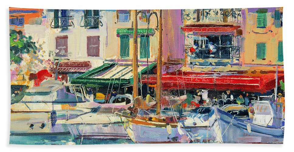 Pier Bath Towel featuring the painting Mirabeau by Peter Graham