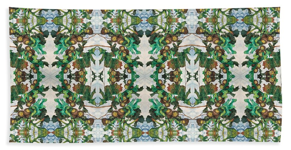 Digital Bath Sheet featuring the digital art Mirror Image Of Acorns On An Oak Tree by Mastiff Studios