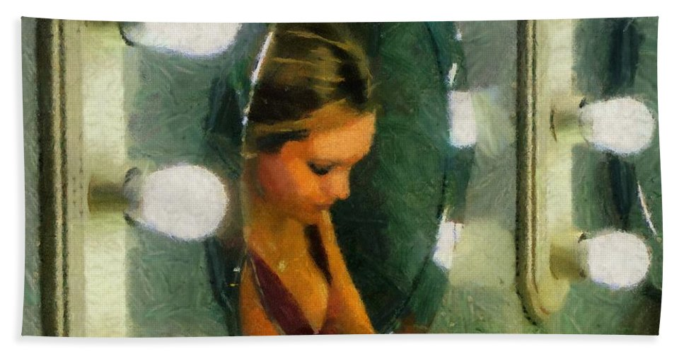 Bridesmaid Hand Towel featuring the painting Mirror Mirror On The Wall by Jeffrey Kolker