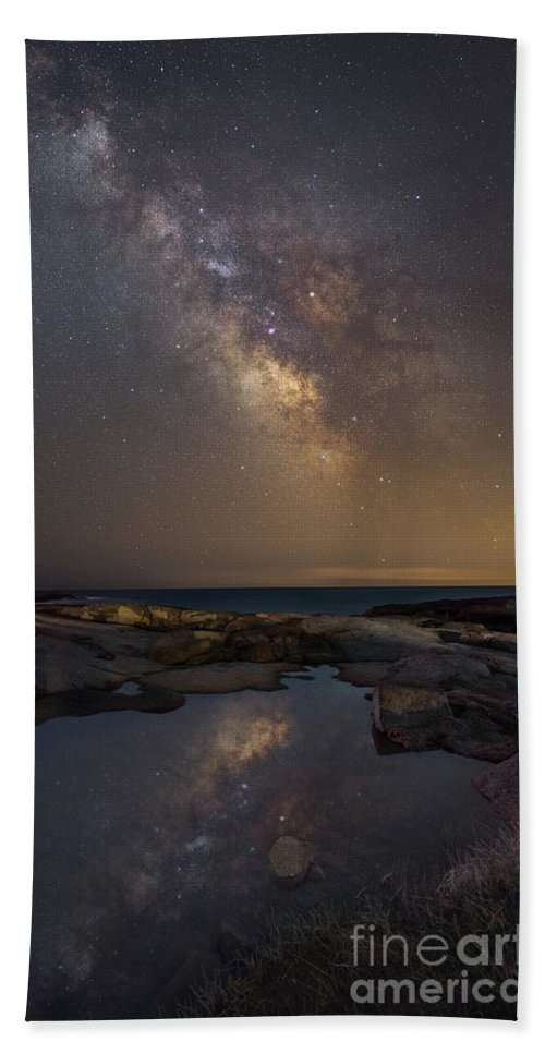 Midnight Explorer Hand Towel featuring the photograph Mirror Reflections Panorama by Michael Ver Sprill