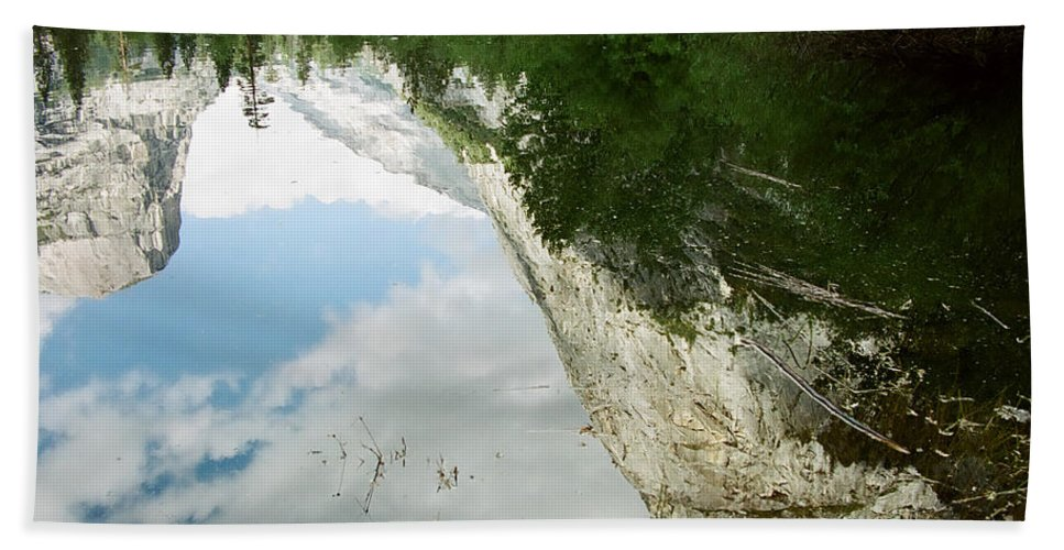 Mirror Lake Hand Towel featuring the photograph Mirrored by Kathy McClure