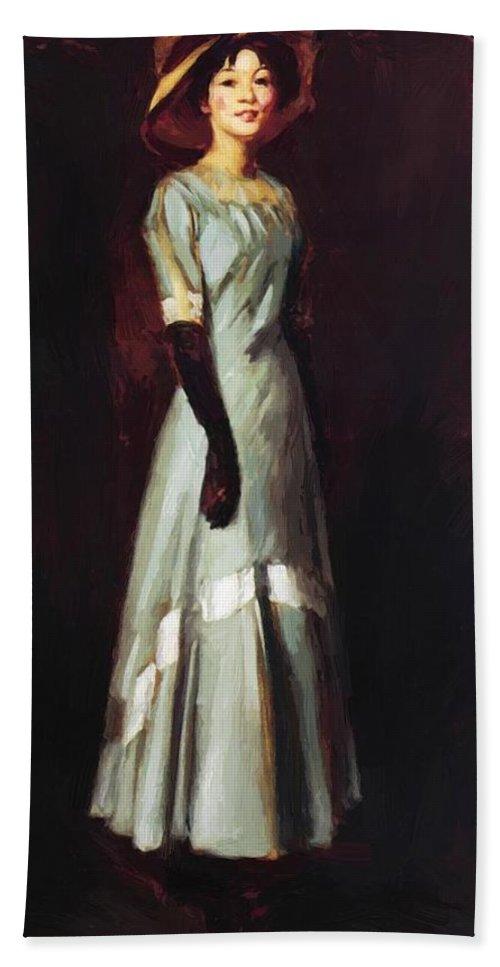 Miss Bath Sheet featuring the painting Miss Kaji Waki 1909 by Henri Robert