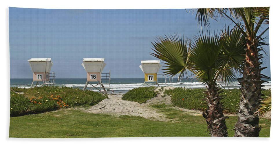 Beach Hand Towel featuring the photograph Mission Beach Shelters by Margie Wildblood