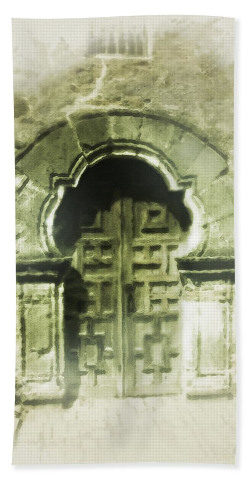 Digital Art Bath Towel featuring the painting Mission Espada Chapel Door by Cliff Hawley