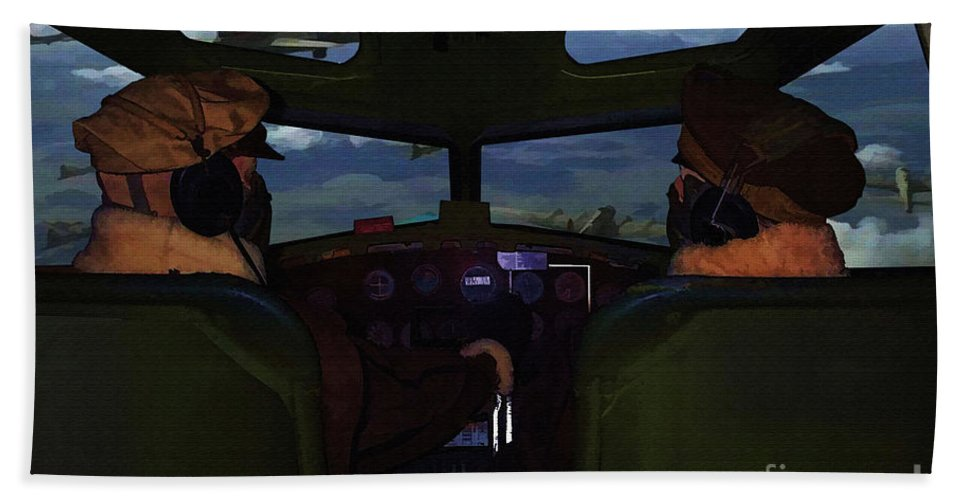 B-17 Hand Towel featuring the digital art Mission Over Germany - Oil by Tommy Anderson