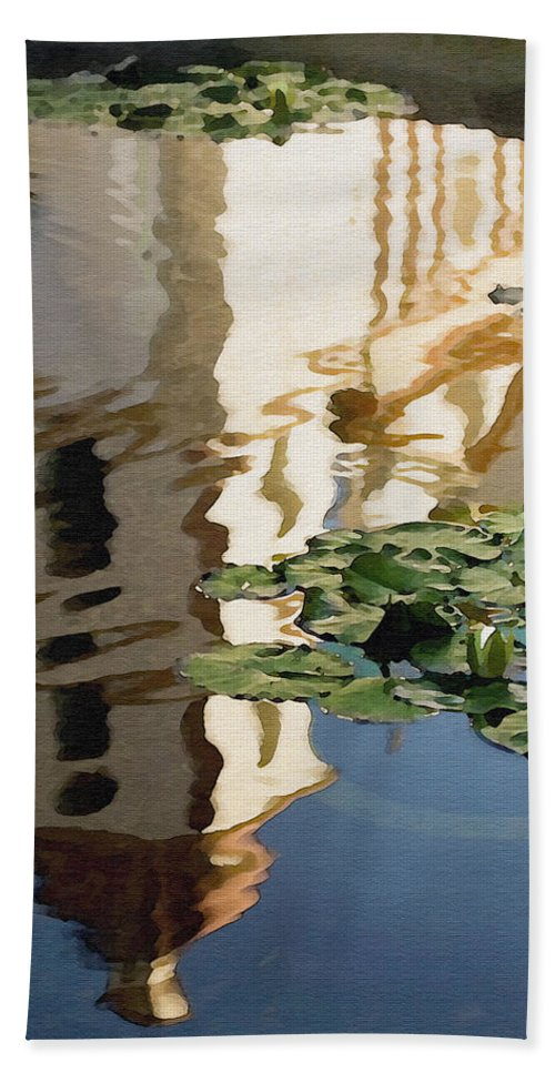 Reflection Hand Towel featuring the digital art Mission Reflection by Sharon Foster