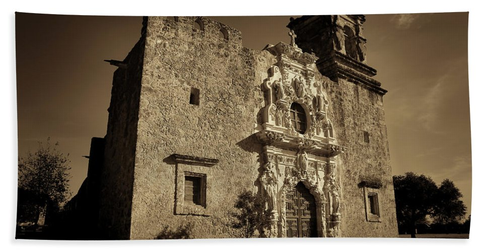 Texas Bath Sheet featuring the photograph Mission San Jose - Sepia by Stephen Stookey
