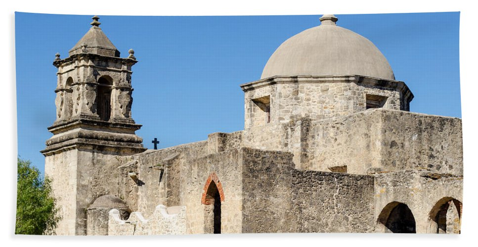 Mission Bath Sheet featuring the photograph Mission San Jose Towers by Shanna Hyatt