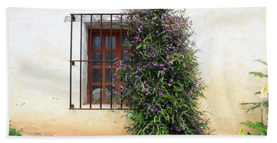 Purple Flowers Hand Towel featuring the photograph Mission Window With Purple Flowers by Carol Groenen