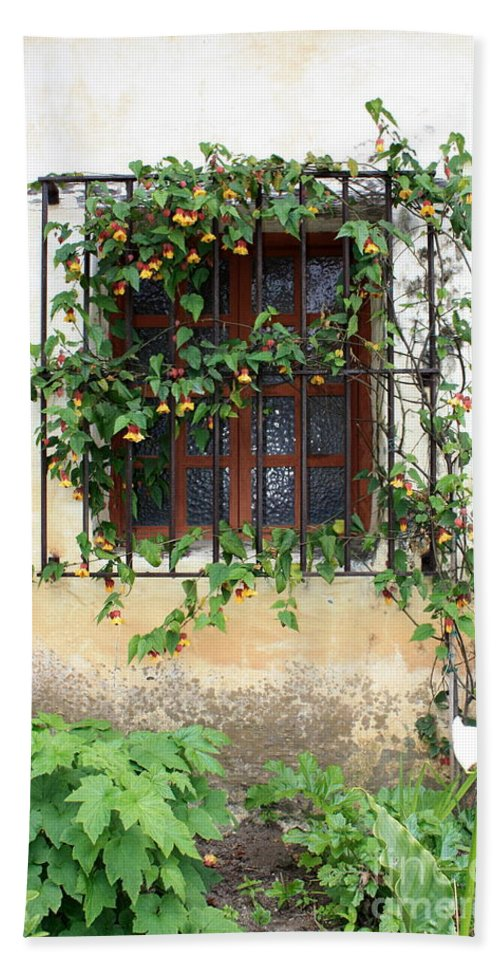 Mission Window Hand Towel featuring the photograph Mission Window With Yellow Flowers Vertical by Carol Groenen