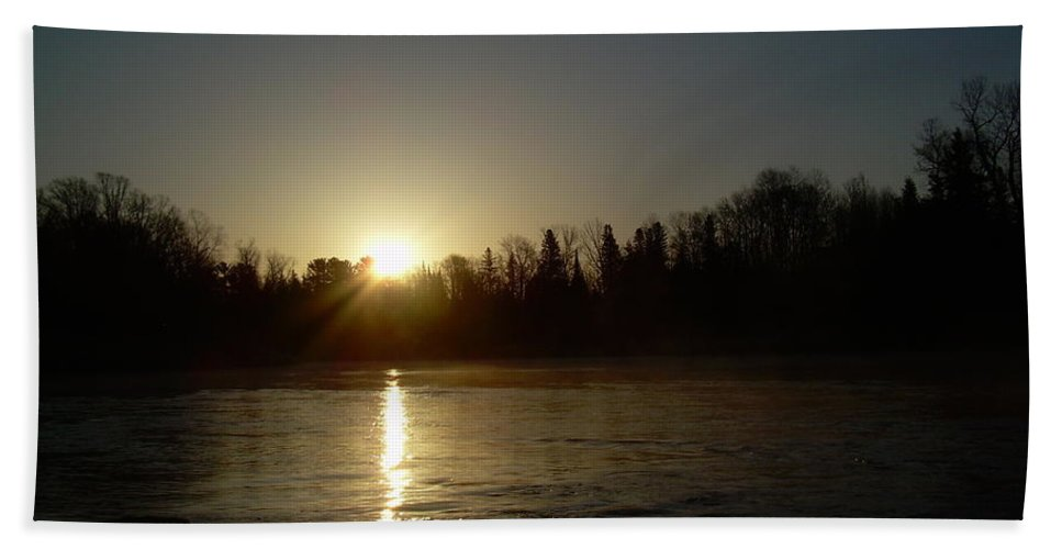 Mississippi River Hand Towel featuring the photograph Mississippi River Golden Sunrise by Kent Lorentzen