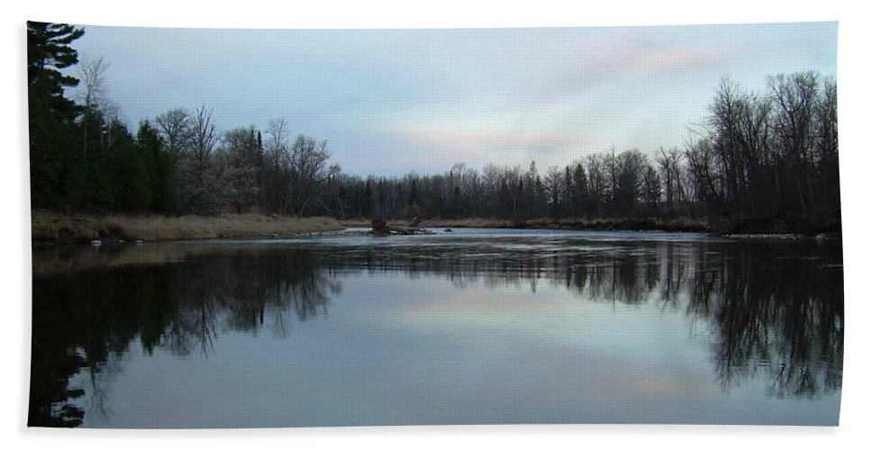Mississippi River Hand Towel featuring the photograph Mississippi River Morning Reflection by Kent Lorentzen