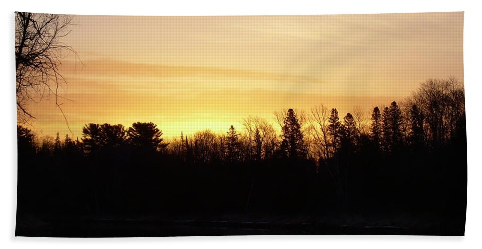 Clouds Bath Sheet featuring the photograph Mississippi River Orange Sky by Kent Lorentzen