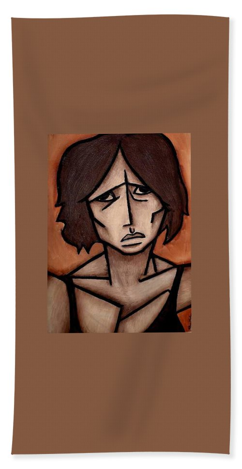 Potrait Hand Towel featuring the painting Missy by Thomas Valentine