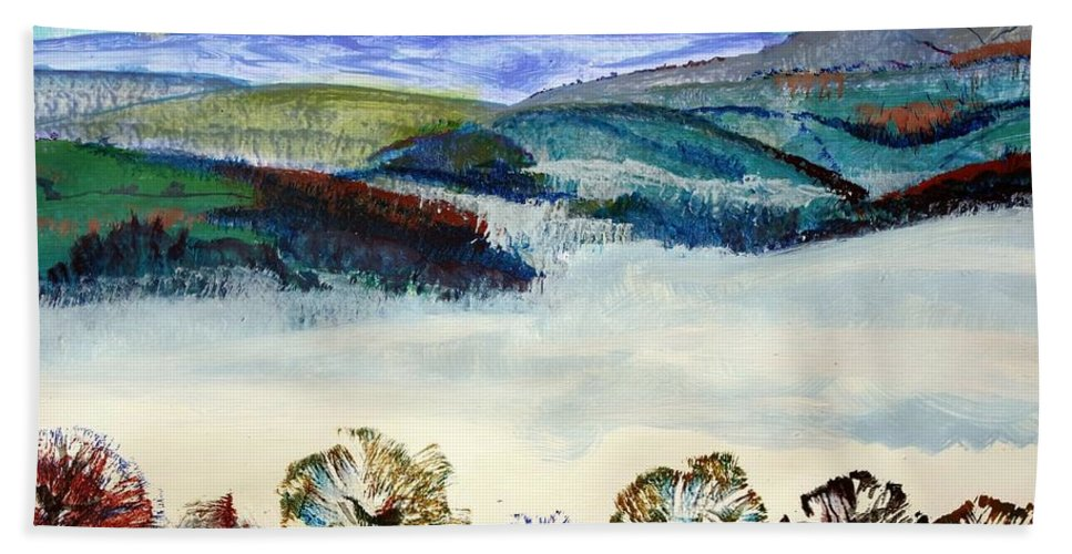 Morning Mist In The Exe Valley Hand Towel featuring the painting Mist In The Exe Valley In Exeter Devon by Mike Jory