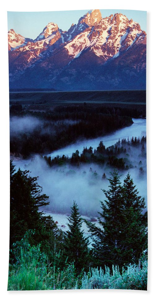 Photography Bath Sheet featuring the photograph Mist Over Snake River, Sunrise Light by Panoramic Images