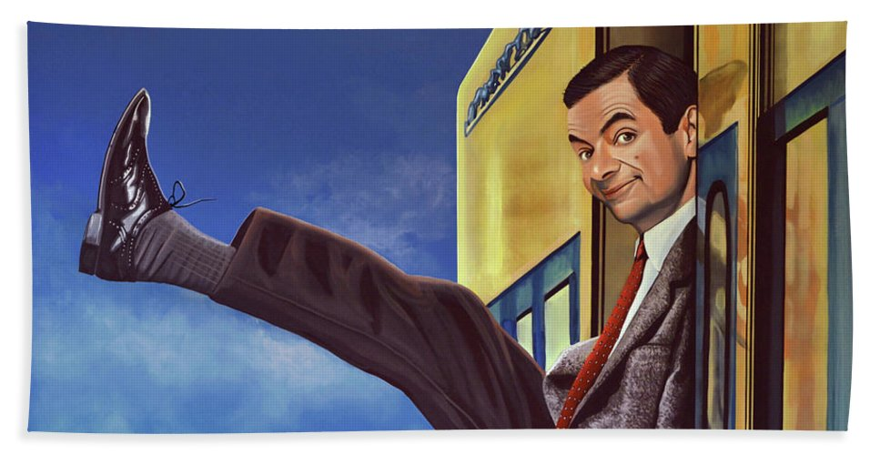 Mister Bean Bath Towel featuring the painting Mister Bean by Paul Meijering