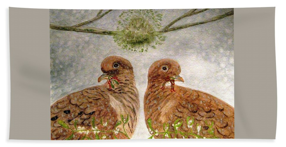 Turtle Doves Hand Towel featuring the painting Mistletoe Magic by Angela Davies