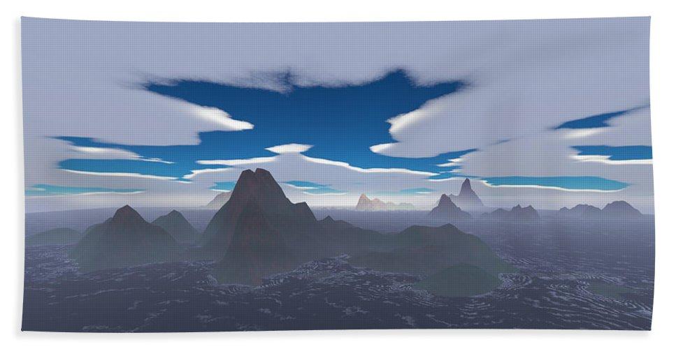 Aerial Bath Sheet featuring the digital art Misty Archipelago by Gaspar Avila