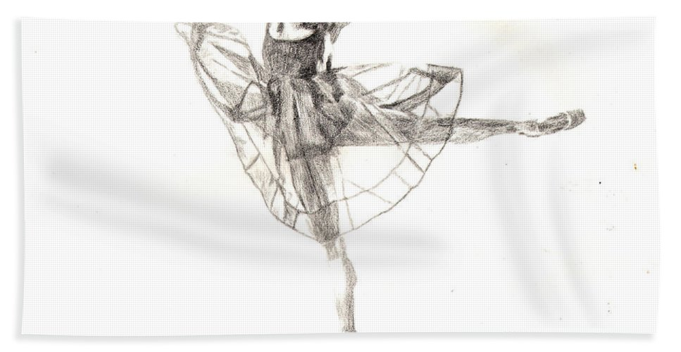 Dancer Bath Sheet featuring the drawing Misty Ballerina Dancer IIi by Lee McCormick