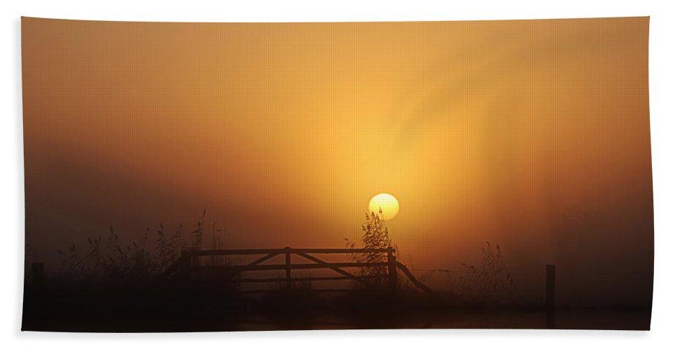Daybreak Hand Towel featuring the photograph Misty Daybreak by Joachim G Pinkawa
