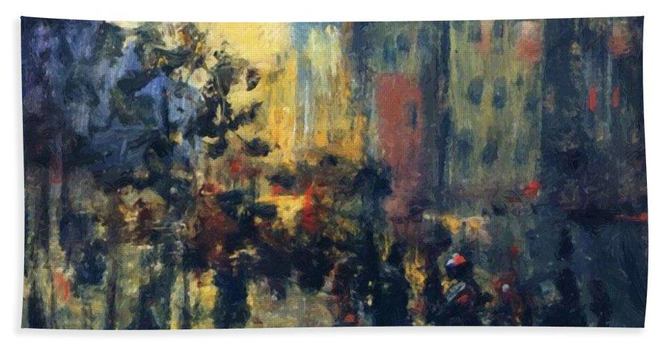 Misty Bath Sheet featuring the painting Misty Effect Paris by Henri Robert