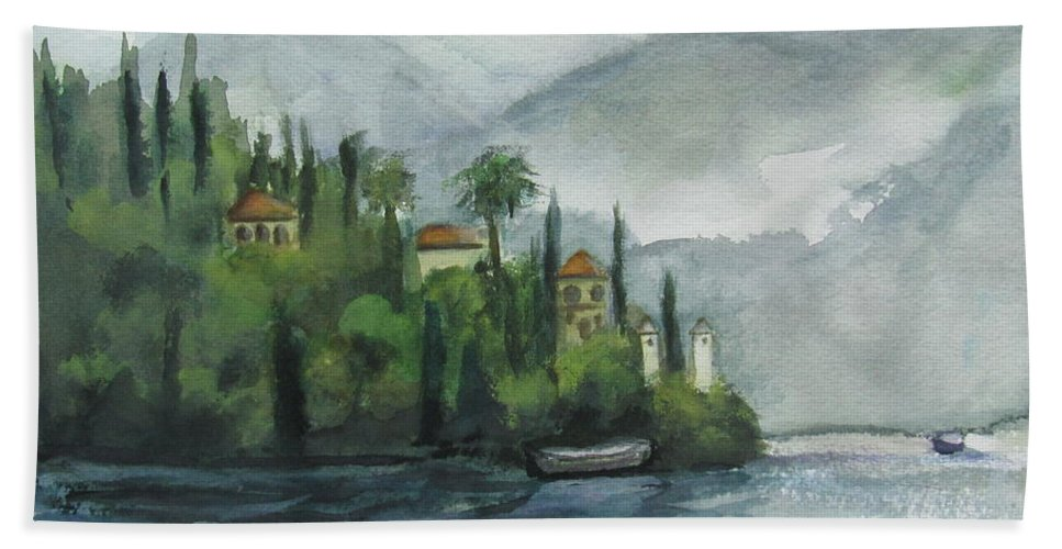 Mist Bath Towel featuring the painting Misty Island by Laurie Morgan