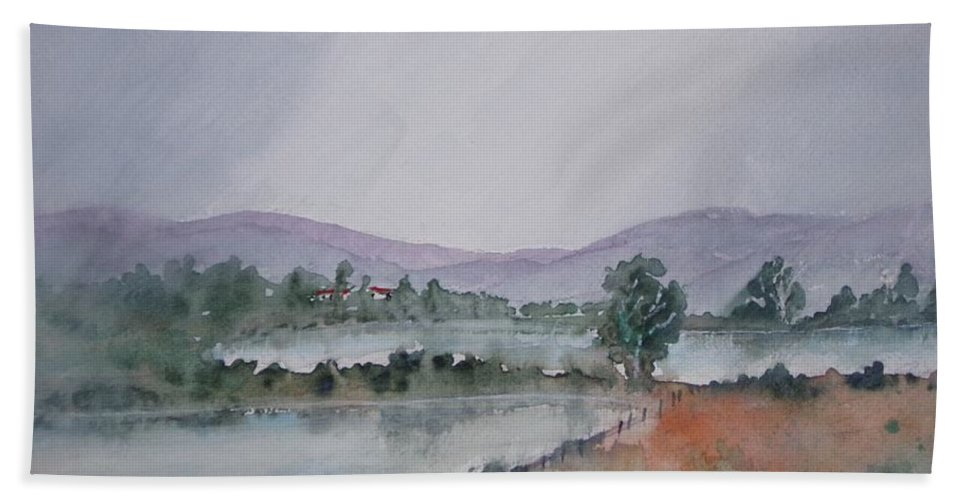 Landscape Bath Sheet featuring the painting Misty Lake by James Heroux
