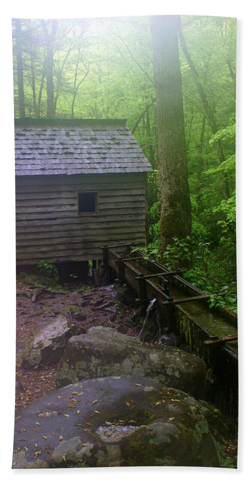 Smokey Mountain National Park Bath Sheet featuring the photograph Misty Mill by Marty Koch